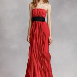 White by Vera Wang Red Chiffon Long Bridesmaid Strapless Crinkle with Mikado Sash (Red) Casual Wedding Dress Size 2 (XS)