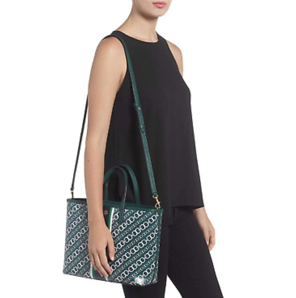 c7dc7a3ec8d Tory Burch Gemini Link Small Green Bias Water-resistant Coated Canvas Tote