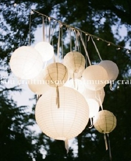 """White 70 Round Chinese Paper Lantern Set with Lights 10x20"""" 20x18"""" 20x16"""" 10x12"""" 10x8"""" Other"""
