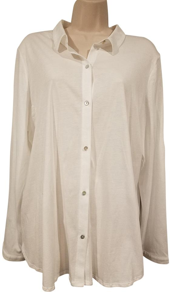 Eileen fisher white new organic cotton classic collar for Organic cotton button down shirts