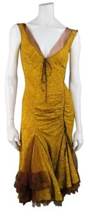 Donna Karan Beaded Ruched Silk Romantic Drawstring Dress