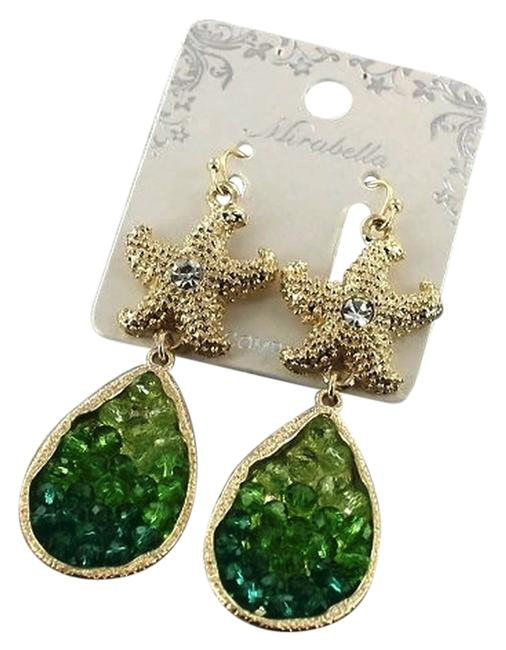 Item - Gold Tone and Green Crystal Accent Starfish Earrings