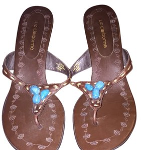 Liz Claiborne Brown Leather With Turquoise Stones Sandals