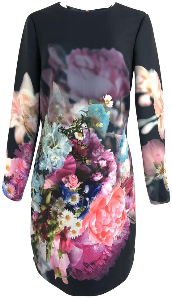 c677ef159b9c3 Ted Baker Multicolor Colored Bouquet Floral Short Cocktail Dress ...