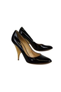 Giuseppe Zanotti Patent Leather With Wooden Heel Black Pumps