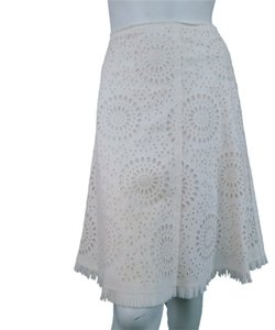 Prada Floral Lace Crochet Pleats Raw A-line Embroidered Skirt Cream