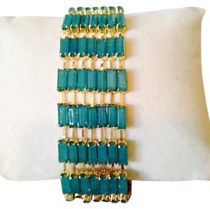 Greenbeads NWOT Turquoise Baguette & Gold Bracelet