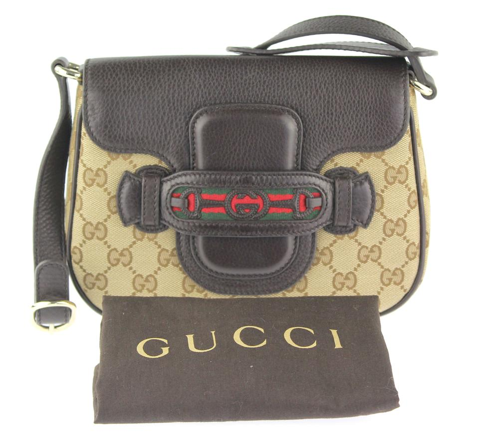 d061152db04 Gucci Dressage Flap Beige and Brown Gg Canvas Shoulder Bag - Tradesy