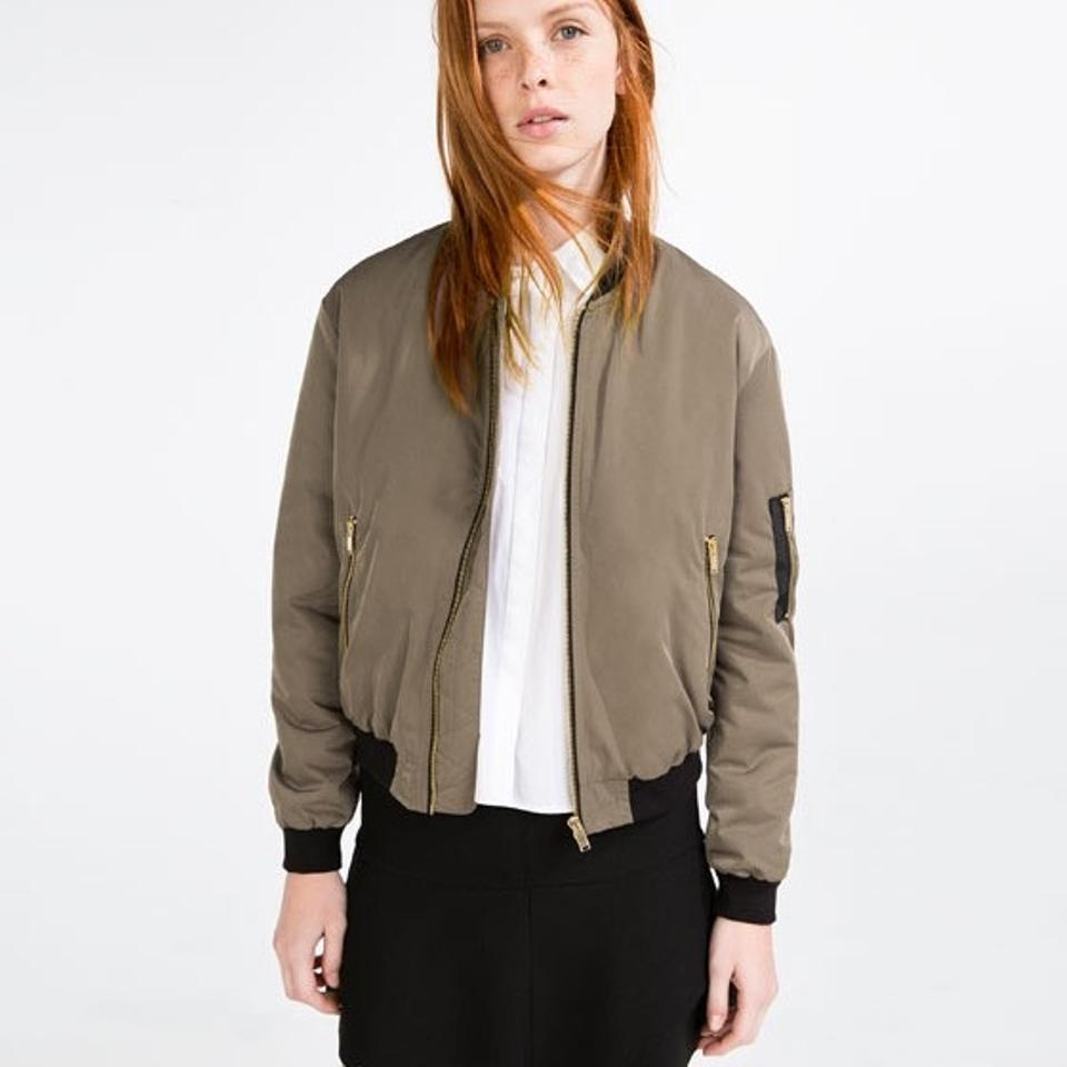 Zara Olive Green New Wout Tags Silky Quilted Padded Bomber Jacket