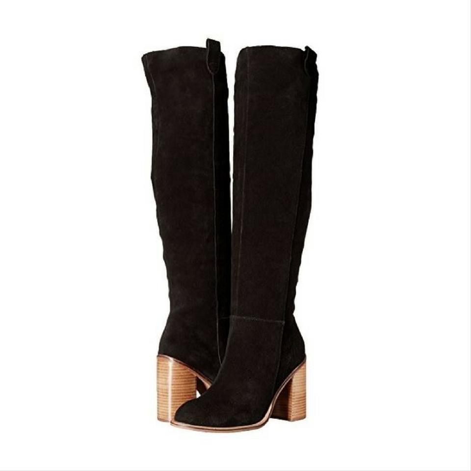 5d550df48f6 Kelsi Dagger Over The Knee Suede Stacked Heel New Black Boots Image 0 ...
