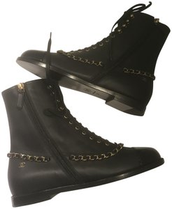 Chanel Cc Chain Lace Up Black Boots