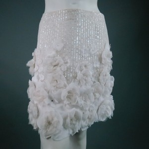 Ralph Lauren Embellished Sequin Beaded Crystal Ruffle Skirt White