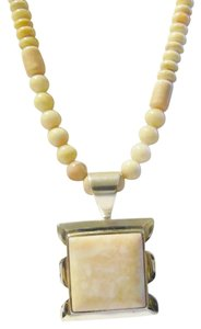 Mine Finds by Jay King Mind Finds By Jay King .925/DTR Sterling Silver Cream/ Pink Opal Necklace with Large Pendant 17
