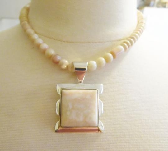 Mine Finds by Jay King Jay King .925 Sterling Silver Cream/ Pink Opal Beaded Necklace