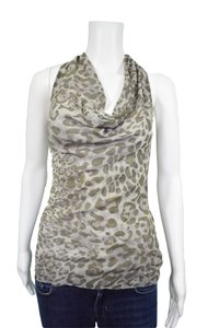 Sweet Pea by Stacy Frati Animal Print Camouflage Cowl Neck Top Green