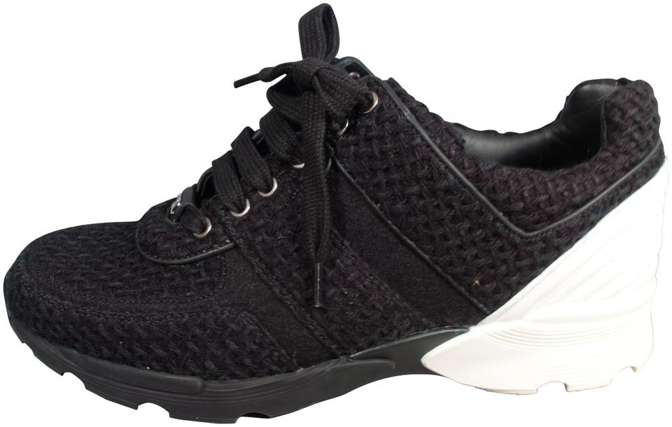 f525e1e8c957 Chanel Black White Tweed Leather Lace Up Sneakers Tennis Sport ...