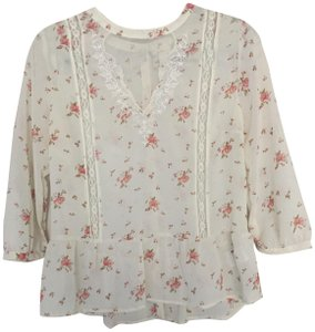 Urban Outfitters Pins And Needles Button Down Lace Top Floral