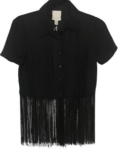 Urban Outfitters Fringe Button Down Top Black