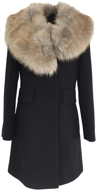 Item - Black Twill Wool with Removable Faux Collar Coat Size 6 (S)