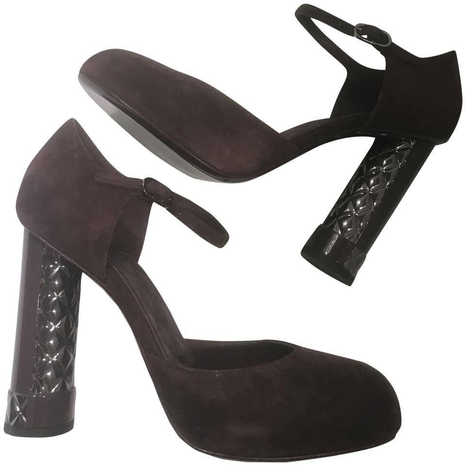 287ce2730359 Chanel Dark Purple 17k Suede Patent Quilted Sculpted Heels .