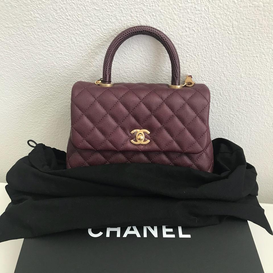 d3cdffe0e4b1 Chanel Coco Handle Mini Burgundy Lizard Handle Shoulder Bag - Tradesy
