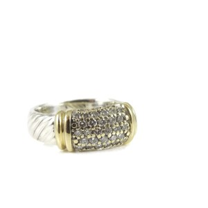 David Yurman David Yurman Sterling Silver 18K .43tcw Wide Pave Diamond Metro Ring