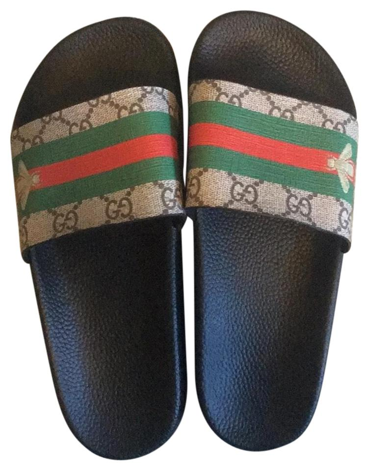 0810f5fe7c3 Gucci Black Green Red Beige Bumble Bee Logo Stripe Slide Sandals ...