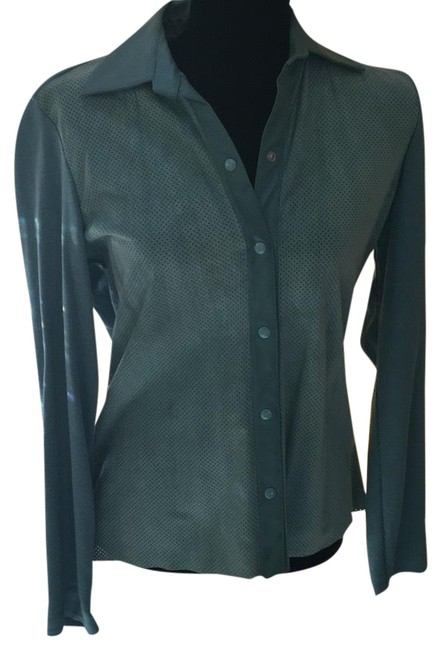 Item - Aquamarine Blue Suede and Knit Sweater Jacket Size 12 (L)