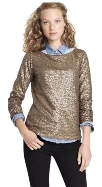 J.Crew Glimmer Sequin Gold Top J.Crew Glimmer Sequin Gold Top Image 1