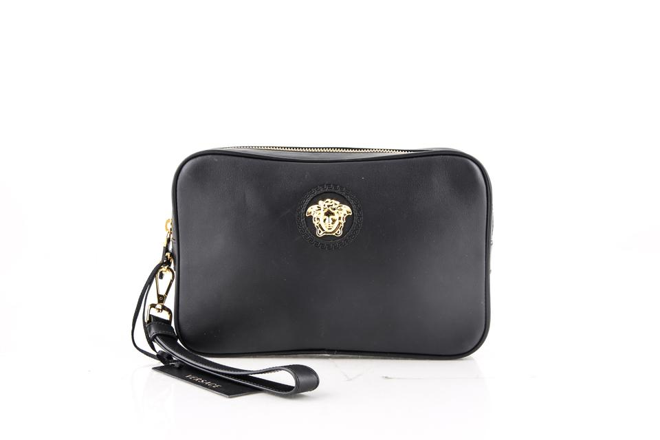 Versace Black Medusa Leather Pouch Cosmetic Bag 24 Off Retail