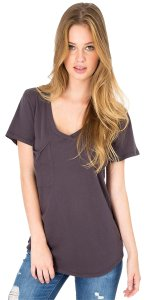 bobi Summer Breezy Weekend Sexy V-neck T Shirt grey