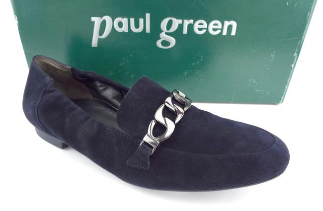 Item - Navy Blue Suede Leather Chain Loafers Flats Size US 7.5 Regular (M, B)