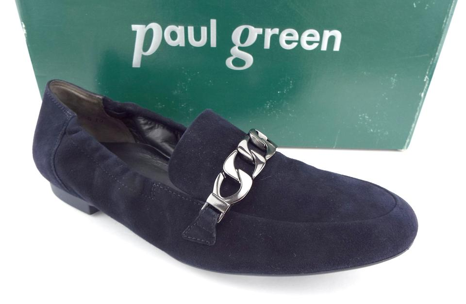 really comfortable buying now classic fit Paul Green Navy Blue Suede Leather Chain Loafers Flats Size US 7.5 Regular  (M, B) 31% off retail
