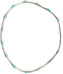 David Yurman 18k, sterling silver and turquooise choker