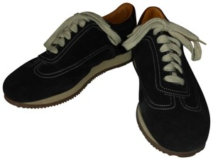Hermès BLACK SUEDE EXTERIOR WITH WHITE STITCHING Athletic