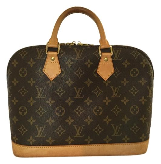 Louis Vuitton Satchel in Iconic Brown with leather detail