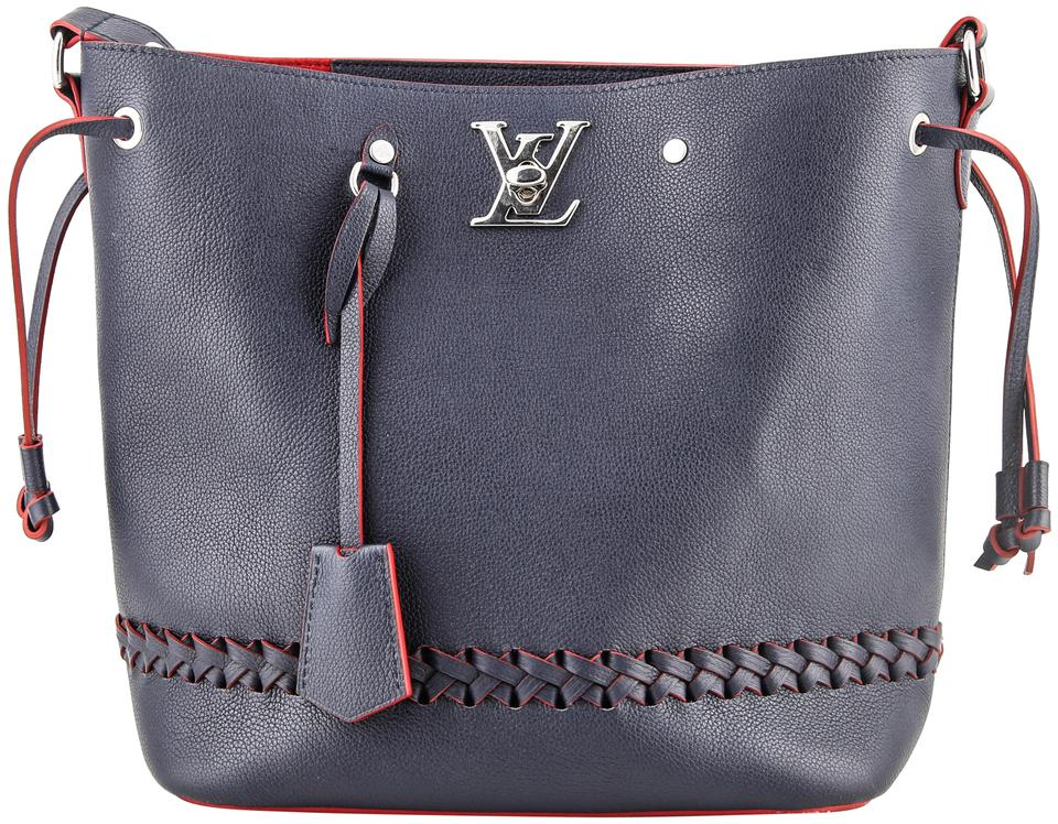 Louis Vuitton Bucket Lockme Red Blue Leather Shoulder Bag - Tradesy c0b289fbc2afe