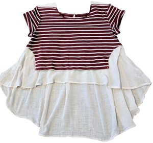 Free People Flowy Striped Casual Bohemian Short-sleeved Top Maroon and Beige