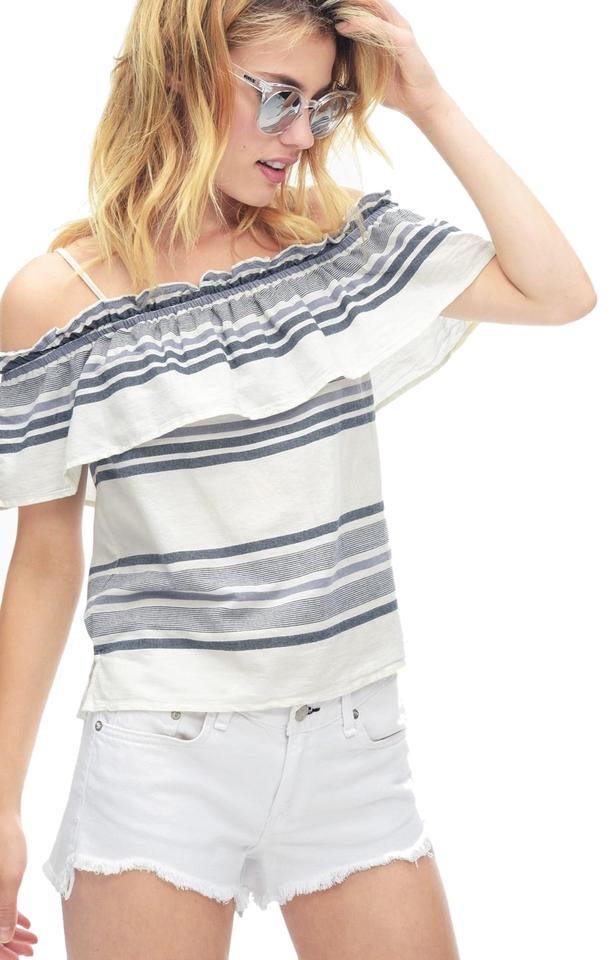 6ad83edf5ae Splendid Off The Shoulder Off Shoulder Ruffle Stripes Relaxed Fit Top Blue  Image 0 ...
