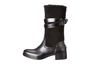 Coach Midcalf Leather Rubber Fleece Monogram Black Boots