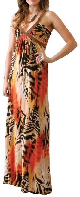 Item - Orange Camel Brown and Beige Long Casual Maxi Dress Size 4 (S)