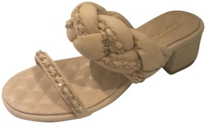 Chanel Cc Chain Quilted Charm Braided Beige Sandals
