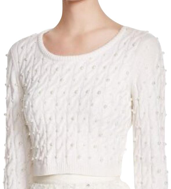 Item - Ora Pearl Studded Cable Off White Sweater