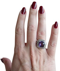 David Yurman DAVID YURMAN Albion 11mm Amethyst Diamond Silver Split Shank Ring 5.5
