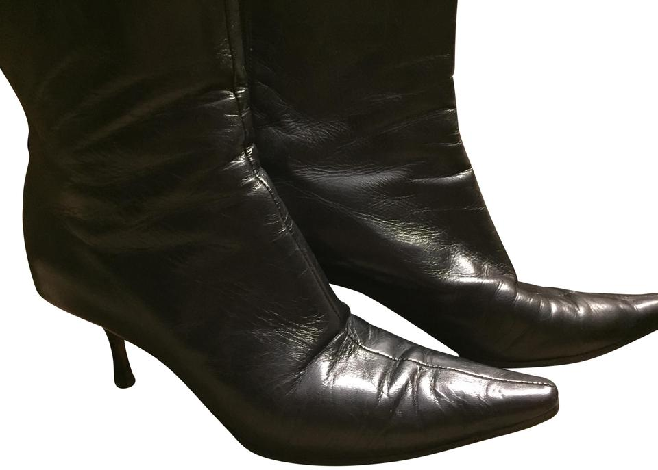 47be04c644c7 Jimmy Choo Ankle Zippered Pointed Toe Kitten Heel Black Boots Image 0 ...