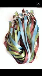 Teal Sage Green & Wine Red 50 Irish Bells Streamers Ceremony Decoration