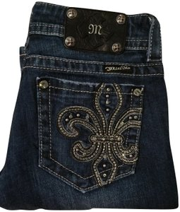 Miss Me Stretchy Embellished Fleur De Lis Boot Cut Jeans-Dark Rinse