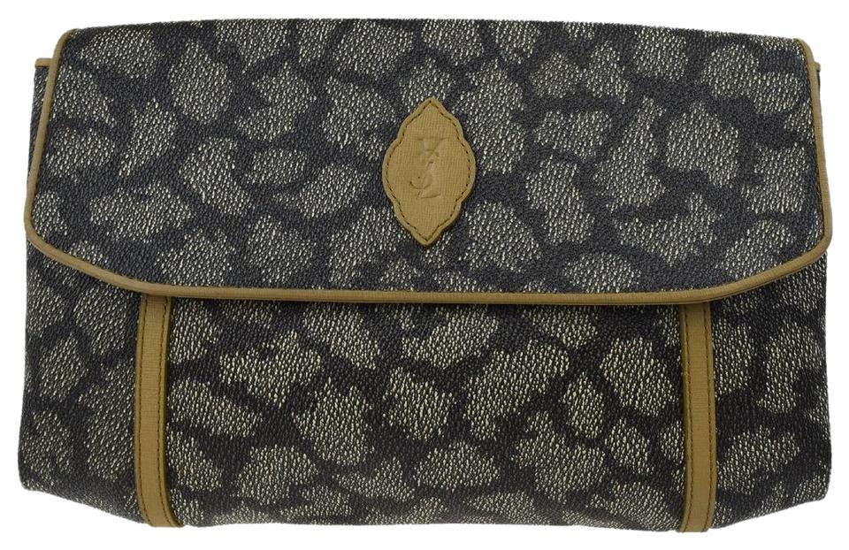 Saint Laurent Dressy Or Casual Clutch Cosmetic Ysl Signature Print Chic  European Style Mint Vintage ... 97f631bd57d52