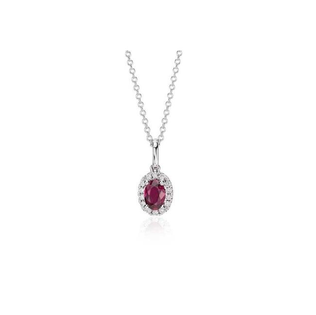 Item - Red and White Ruby Diamond Halo Pendant In Gold (6x4mm) #56113 Charm