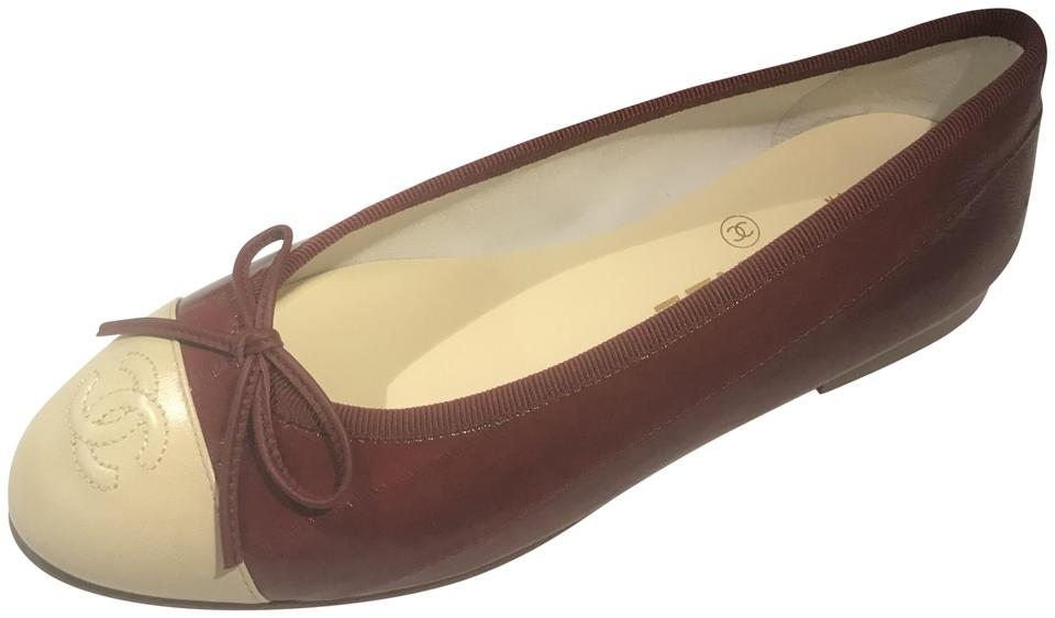 0d4cc8889f5 Chanel Burgundy Beige 16c Eel Leather Cap Toe Bow Ballerina Ballet Flats